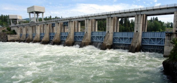 Albeni Falls Dam sits 90-feet tall on the Pend Oreille River, a tributary of the Columbia River.