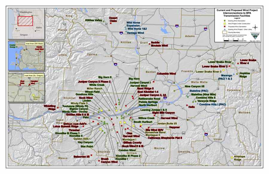 BPA Transmission's current and proposed Wind Project interconnection map (3.6MB PDF) 07/11/2012