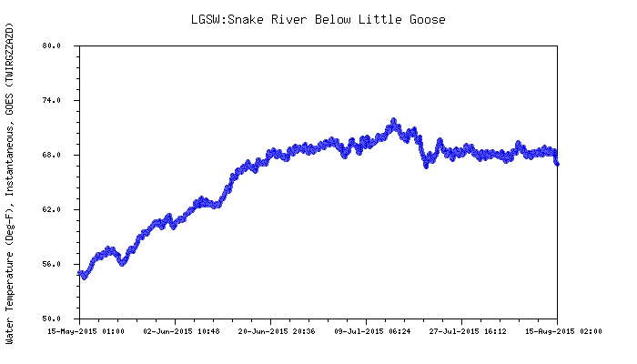Graphic: Snake River water temperature below Little Goose dam.