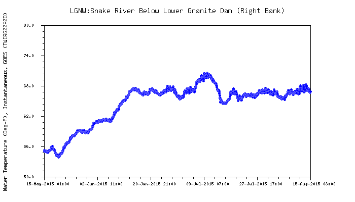Graphic: Snake River water temperature below Lower Granite dam.