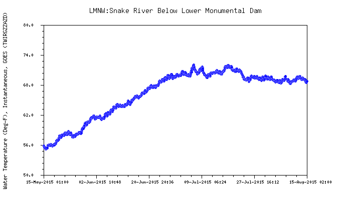 Graphic: Snake River water temperature below Lower Monumental dam.