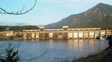 Bonneville Dam operated by the Army Corps of Engineers