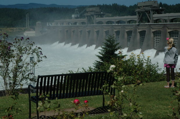 (Terry Richard photo) Water gushes out of Bonneville Dam's spillway this spring.
