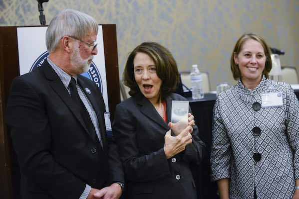 U.S. Sen. Maria Cantwell, D-Wash., received an award from the Pacific Northwest Waterways Association at the organization's annual convention on Wednesday, held at the Hilton Vancouver Washington. (Photos by Ariane Kunze/The Columbian)