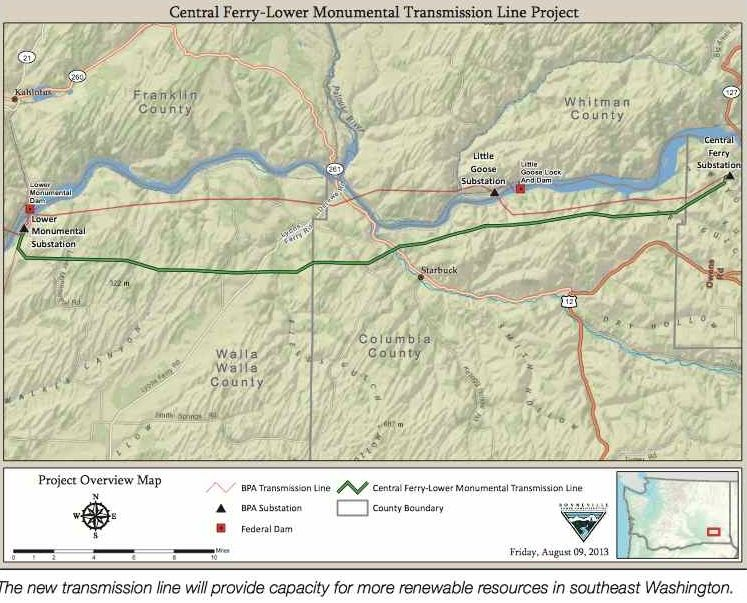 The new transmission line will provide capacity for more renewable resources in southeast Washington.