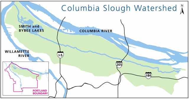 Map of Columbia Slough watershed.