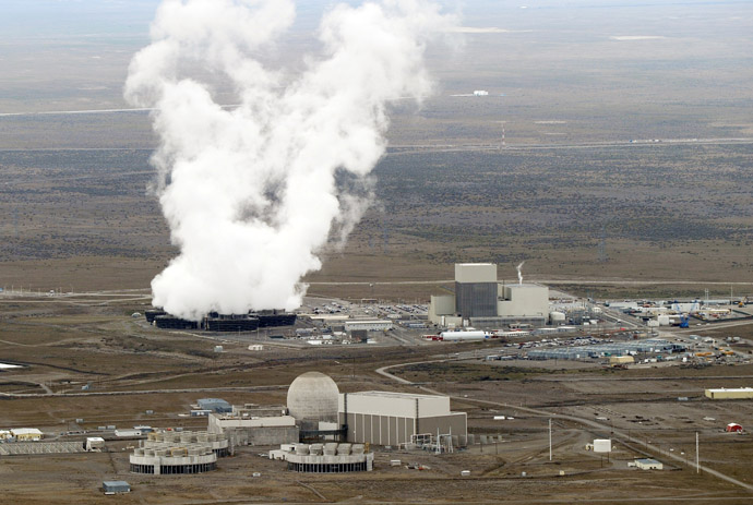 An aerial view of the Columbia Generating Station, a nuclear power plant inside the Hanford nuclear site beside the Columbia River in Hanford, Washington state. (Mark Ralston photo 3/21/11)