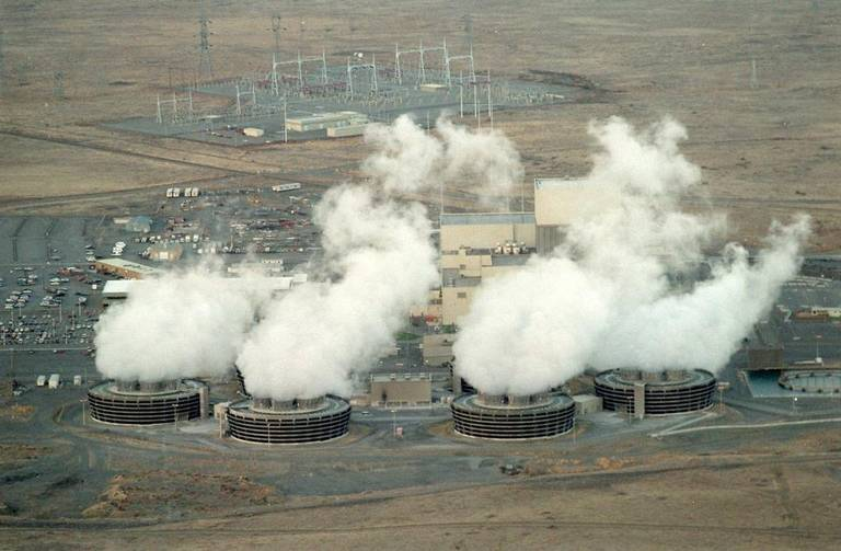 Cooling Towers emit steam above Energy Northwest's Columbia Generating Station.  The Northwest's only nuclear power plant is near Richland, Washington.