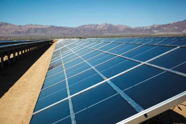 Photovoltaic panels installed at the Desert Sunlight Solar Farm do not require washing, drastically reducing the project's impact on local water resources.