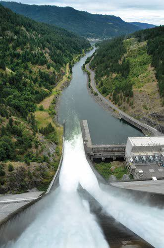Water falls 605 feet over Dworshak Dam spillway and into the North Fork of the Clearwater River.  Work at the dam's powerhouse this winter will make it more difficult for the U.S. Army Corps of Engineers to balance downstream flood control efforts with the needs of fish.