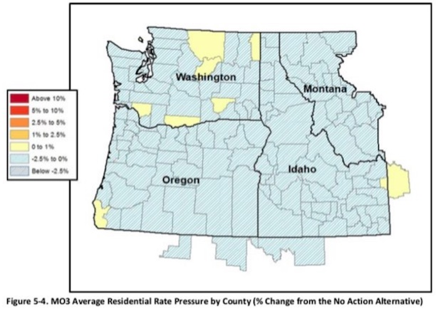 Map: The Draft EIS of the Columbia River System Operations released in March 2020, included this graphic in Appendix H revealing widespread electric retail rate decreases through most of the Northwest.