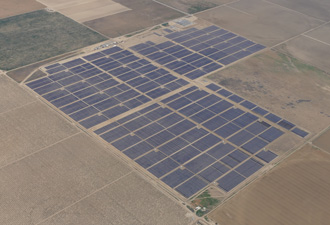 Aerial view of the Five Points Solar Farm, Fresno County.