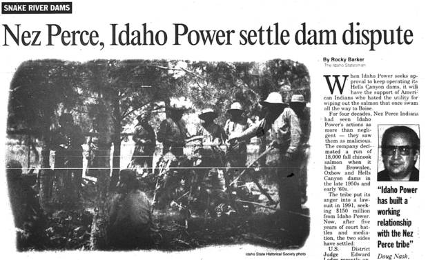 Idaho Statesman article from when Hells Canyon dams construction strikes a deal with the Nez Perce tribe.