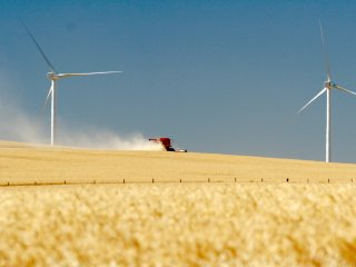 (PSE Photo) Two of the wind turbines at Hopkins Ridge near Dayton (SE Washington just south of the Lower Snake River).