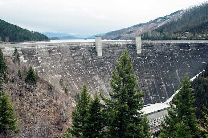 Hungry Horse Dam is an arch dam on the South Fork Flathead River in the Rocky Mountains' state of Montana.. (photo credit: Greg Lindstrom, Spokesman-Review, 3/31/15.)