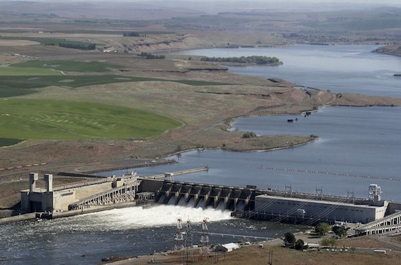 In this 2013 aerial file photo, the Ice Harbor Dam on the Snake Ri ver is seen near Pasco, Washington (Bob Brawdy / Associated Press).