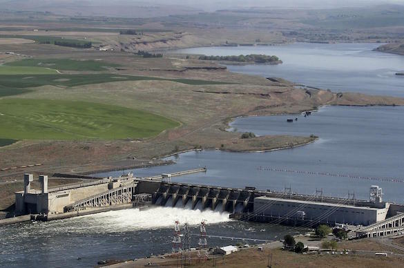 In this 2013 aerial file photo, the Ice Harbor Dam on the Snake River is seen near Pasco, Wash. (Bob Brawdy / Associated Press)