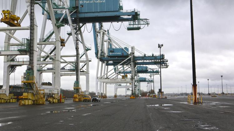 At the Port of Portland, with shipping container service dropping to a fraction of what it once was, cranes sit idle and the docks are empty.