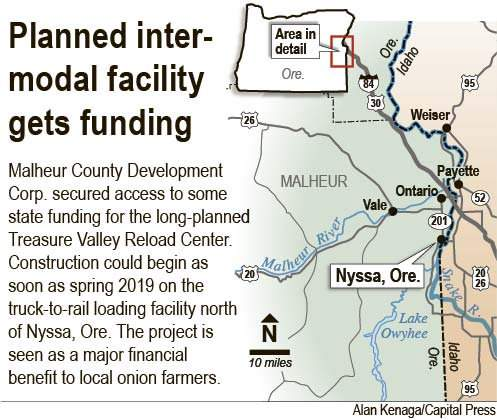 Map: Treasure Valley Reload Center, a truck-to-rail loading facility north of Nyssa, Oregon, is seen as a major financial benefit to local onion farmers.