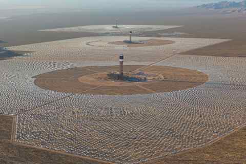 Aerial view of Ivanpah which focuses solar radiation to boil steam, turn a turbine and produce electricity. (photo credit: BusinessWire)