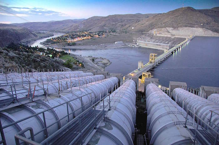 The John Keys Pump Generation Plant intkes are seen at the Grand Coulee Dam.  The 12 pumps send water from the Columbia River to Banks Lake and 670,000 acres of farmland in the Columbia Basin Project in Central Washington state.