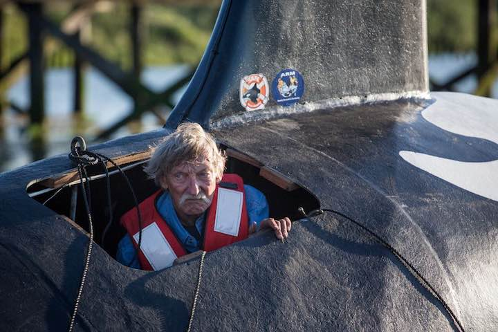 John Wilfer, the pilot of a fake life-sized orca vessel, looks out from an opening as the whale is moved into position in the East End Mooring Basin on Thursday, June 4, 2015 in Astoria, Ore. The effort to use a fake orca to scare off hundreds of sea lions crowding docks off the Oregon coast ended with the fiberglass creature belly-up after it was swamped by a passing ship. (AP Photo/The Daily Astorian, Joshua Bessex) (Andrew Theen | The Oregonian/OregonLive)