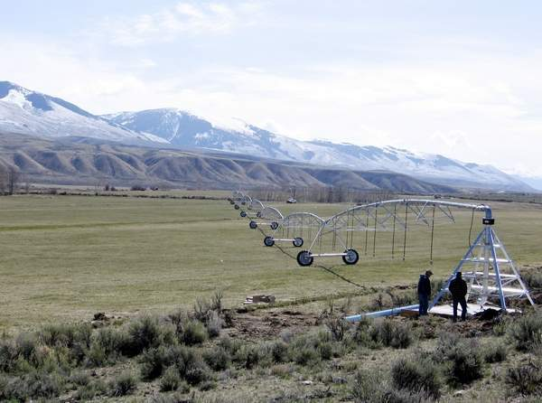 one of the three irrigation pivots that have been installed on the McFarland Livestock Company ranch near Salmon, Idaho. The Lemhi Water Conservation District project improved the efficiency of the ranch's irrigation setup. (Quinton Snook/Lemhi Water Conservation District)