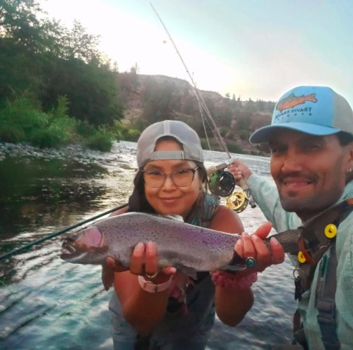 Alysia and Elke Littleleaf, fly-fishing guides on the Deschutes River.