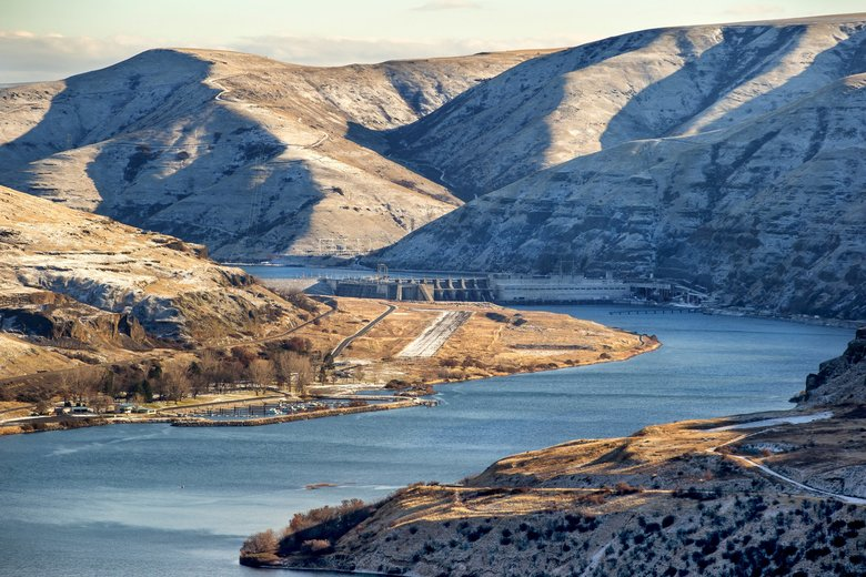 The Lower Granite Dam near Almota, Whitman County, is the first of four dams on the Lower Snake River. (Mike Siegel / The Seattle Times)