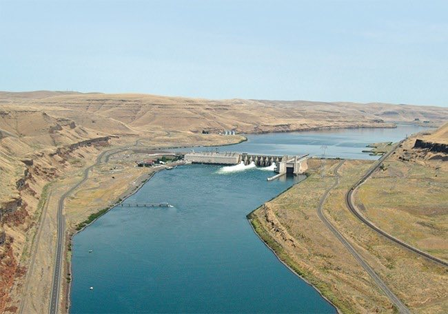 Lower Monumental dam impounds water extending 42 miles upstream.