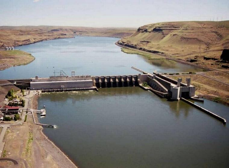 On the Snake River sits Lower Monumental Dam near Kahlotus, Washington. (Army Corps of Engineers photo)