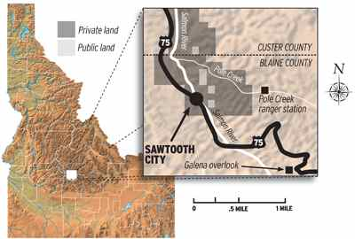 Map: The shaded area of this map shows land in the upper Sawtooth Valley along Pole Creek. (map by Tony Barriatua)