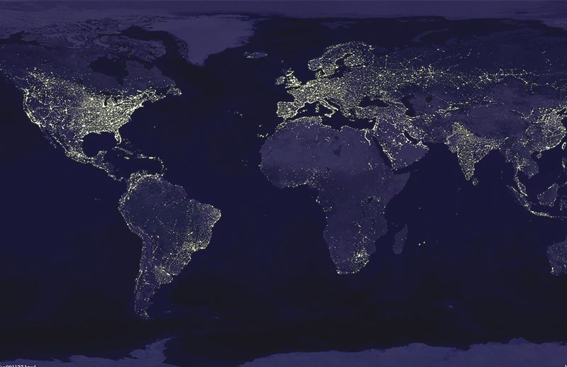(NASA) A satellite view of the earth at night. As the world rapidly develops and becomes more urban, use of artificial light is growing as much as 20 percent a year in some regions. Now, only the planet's remotest regions -- Siberia, the Tibetan plateau, the Sahara Desert, the Amazon, and the Australian outback -- remain cloaked in darkness.