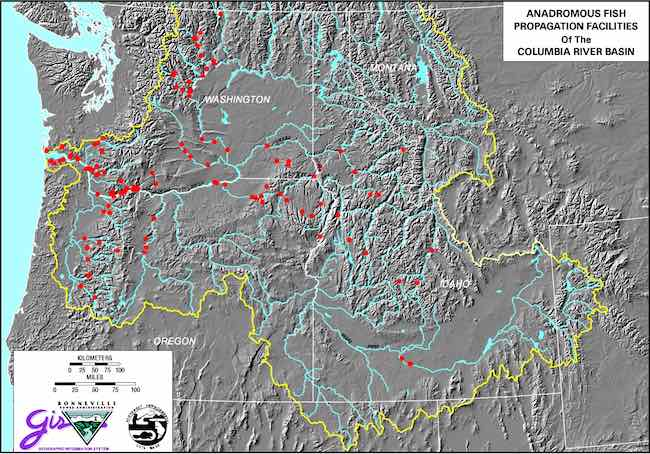Map: Anadromous fish propagation Hatcheries in Columbia River Basin