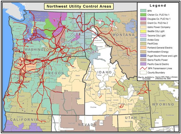 NW Transmission Grid Map -- The agreement between CAISO and Bonneville Power Administration is intended to facilitate Energy Imbalance Market transfers on Bonneville's system, which accounts for about 70% of transmission capacity in the Northwest.