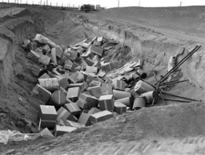 """Low Level"" Nuclear Waste Disposal, Hanford, 1950. (Department of Energy photo)"