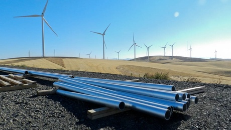 (Courtney Flatt) Equipment is ready to be installed at Palouse Wind, which wrapped up construction last November -- before a tax credit was set to expire. Uncertainty surrounding the credit is one reason no new wind farms being built this year in the Pacific Northwest.