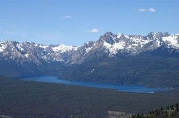 An aerial view of Redfish Lake from the southeast.