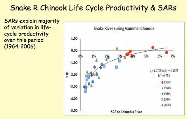 Smolt-to-Adult ratio (SAR) explains the majority of life cycle productivity over the period 1964-2006. (source: Charlie Petrosky, IDF&G, from Comparitive Survival Study 2015 annual meeting.