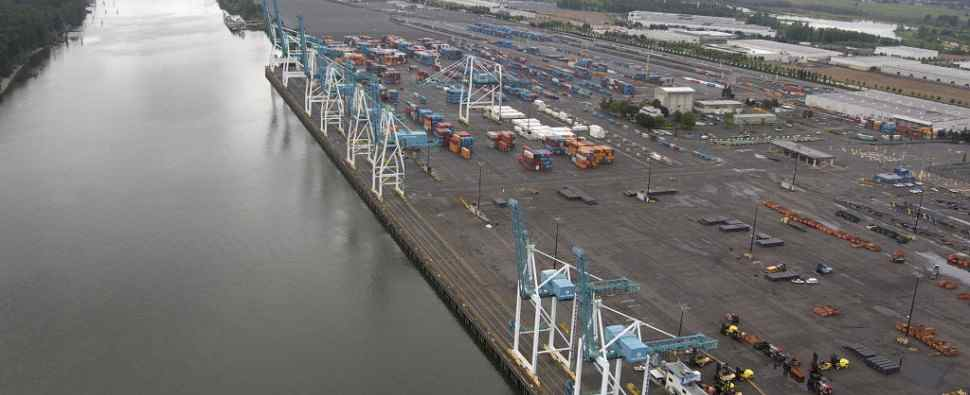 Containers await movement at Terminal 6 Port of Portland.