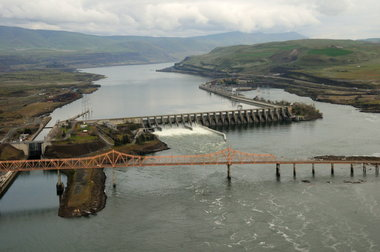 Aerial view of The Dalles Dam on the Columbia River which defines much of the border between Washington and Oregon.