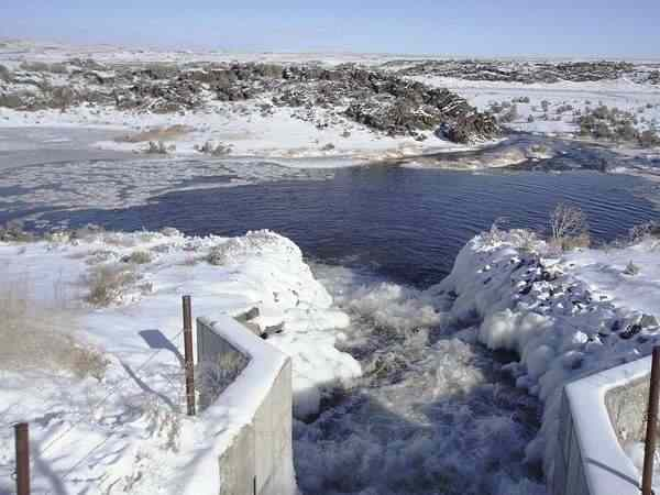 Water is recharged this winter at American Falls Reservoir District No. 2's MIlepost 31 recharge site. Winter recharge has recently been expanded to include canals between American Falls and Palisades reservoirs.