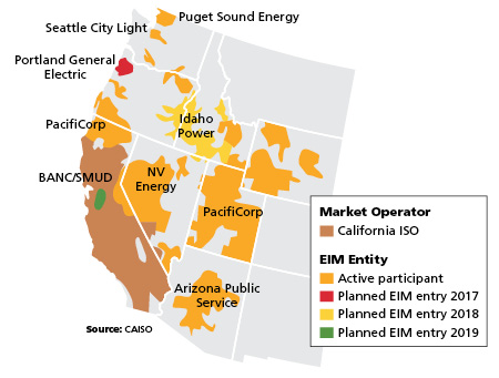 Map: Entities of the Western Energy Imbalance Market. Credit: California Independent System Operator/OATI.