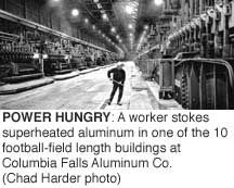 Power Hungry: A worker stokes superheated aluminum in one of the 10 football-field length buildings at Columbia Falls Aluminum Co. (Chad Harder photo)
