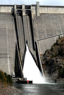 (Lewiston Tribune) The spillways of Dworshak Dam churn out excess water in April 2008.