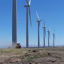 Spinning turbines at the 200 MW Big Horn wind project