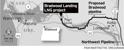 Map of proposed Braddwood Landing Liquid Gas Terminal