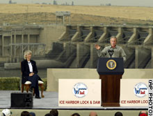 (AP Photo) President Bush and Interior Secretary Gale Norton visited the Ice Harbor Lock and Dam near Burbank, Wa., last month.