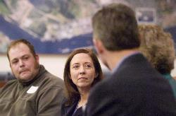 U.S. Sen. Maria Cantwell, D-Wash., meets with local business and labor representatives to promote 'green-collar' jobs. Cager Clabaugh, with the International Longshore & Warehouse Union Local 4, is seated at left.