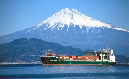 The Westwood Columbia, named for the Columbia River, crosses Japanese waters beneath Mount Fuji after Westwood Shipping Lines introduced its third generation of ConBulk vessels several years ago.